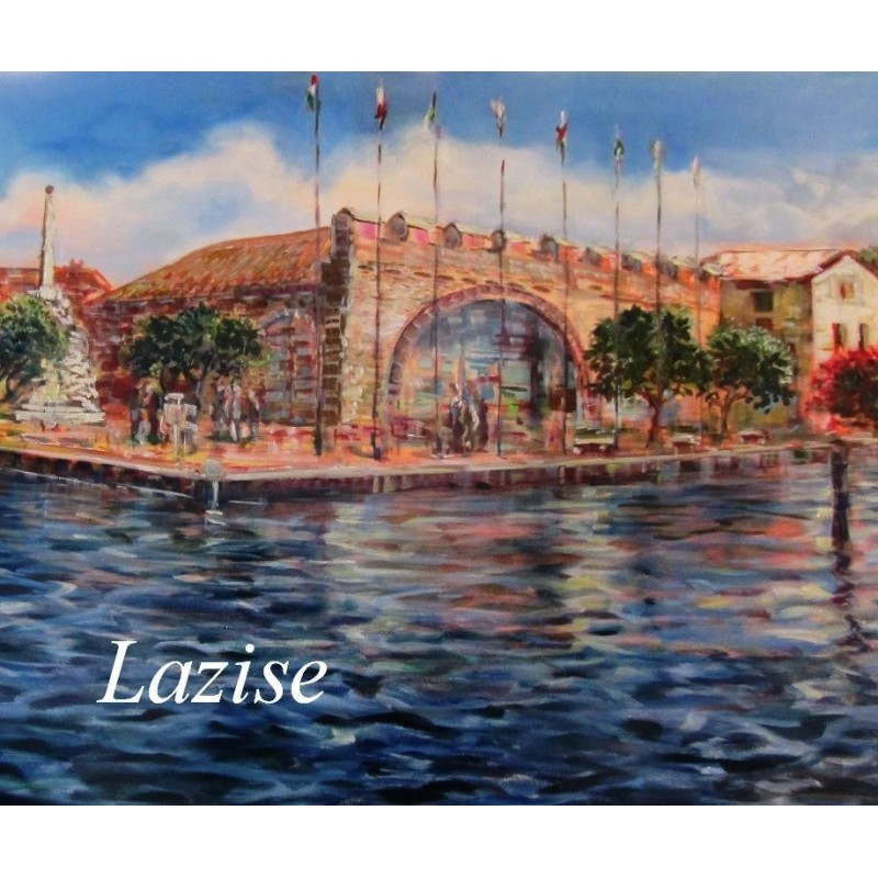 """Wiew of the  Old Customs House in Lazise on Lake Garda"""