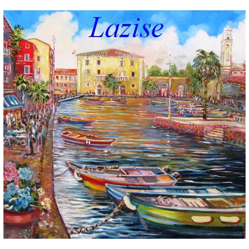 """Wiew of the small port of Lazise on Lake Garda"""