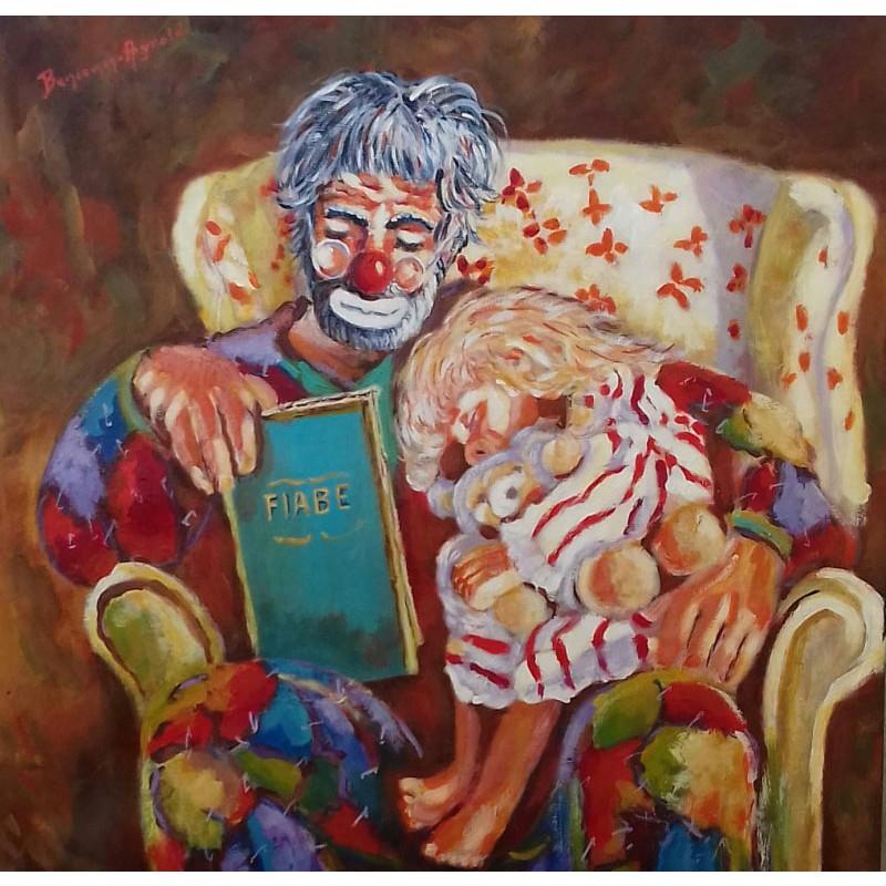 """Dipinto olio su tela """"Le fiabe del nonno"""""""