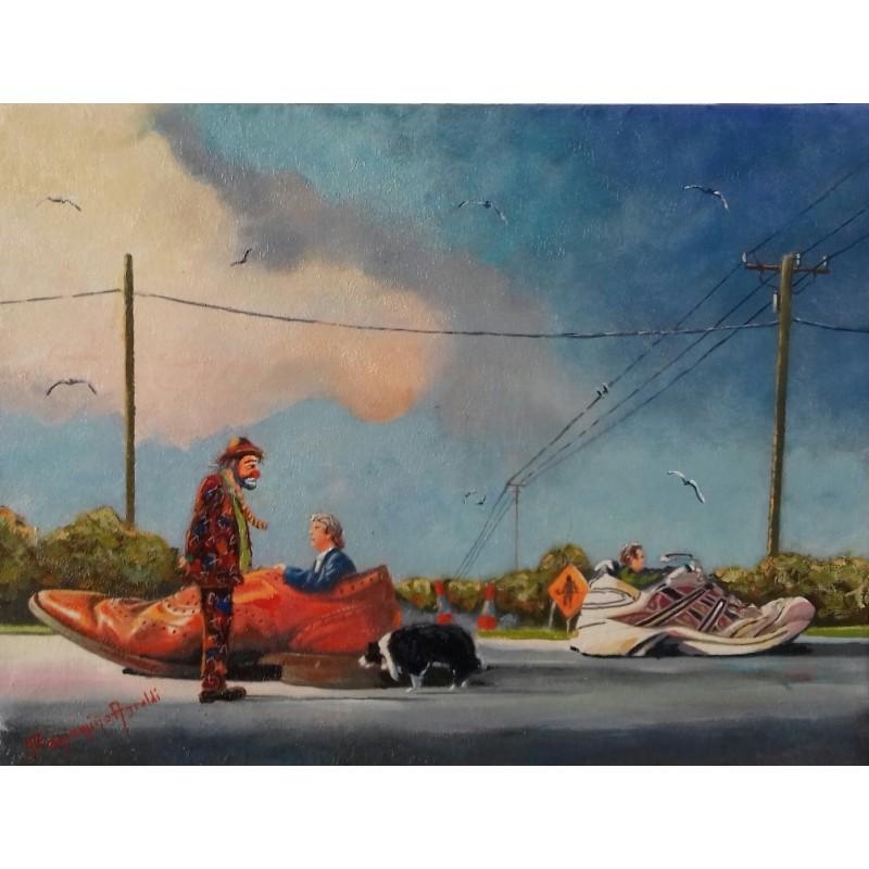 "Dipinto olio su tela di Beniamino Ajroldi ""Pole Position"""