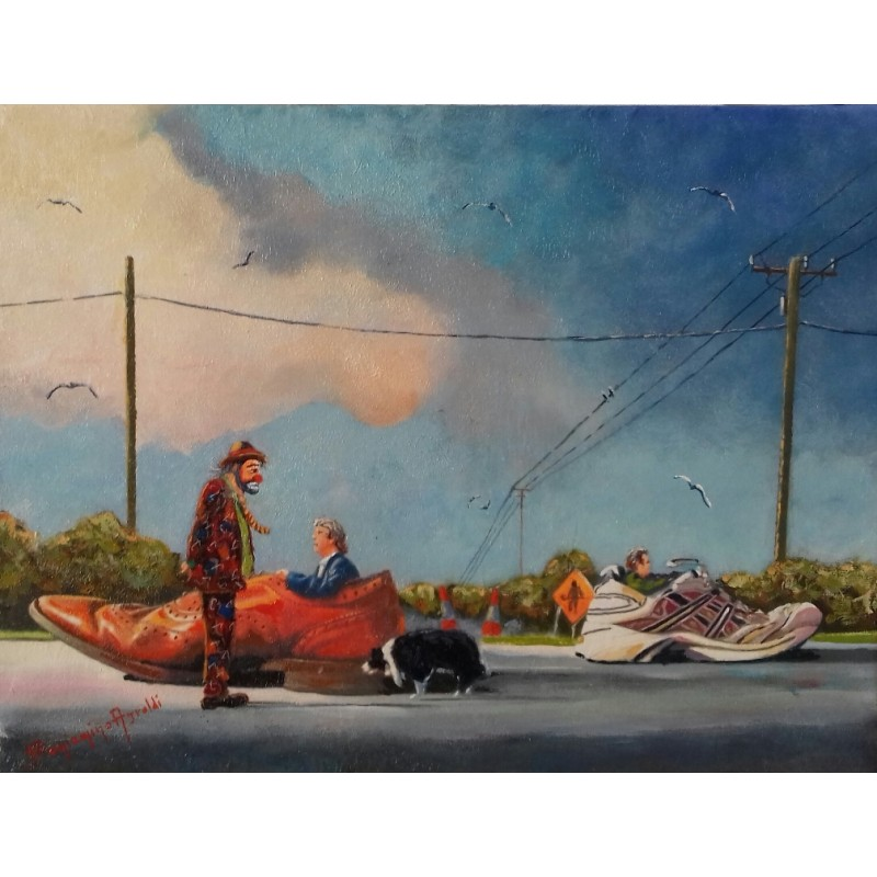 "Oil painting on canvas by Beniamino Ajroldi ""Pole Position"""