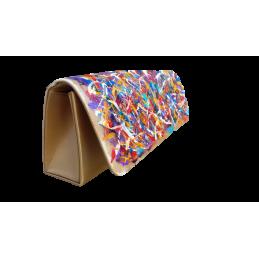 """Pouchette in tessuto poliestere dipinta a mano con colori ad olio da Annalisa Girlanda: """"Eclisse di  sole"""""""