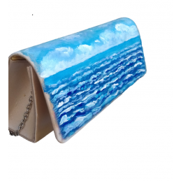 "Hand-painted polyester pouchette in oil colors from Annalisa Girlanda ""Marine sunset"""