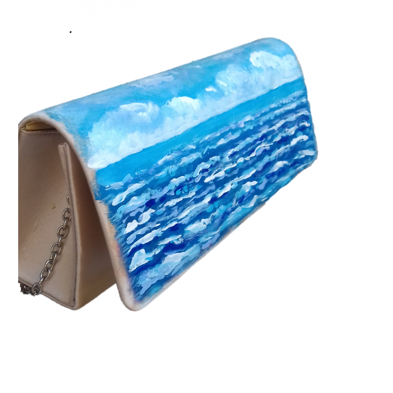 """Hand-painted polyester pouchette in oil colors from Annalisa Girlanda """"Marine sunset"""""""