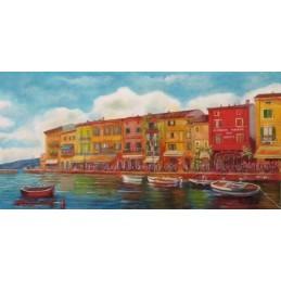 "Dipinto olio su tela di Riccardo Bellotto ""Lazise lungolago Fontana"""