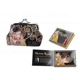 """Portamonete piccolo in oleografia su ecopelle di Gustav Klimt """"Il Bacio"""""""