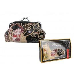 """Portamonete grande in oleografia su eco pelle di Gustav Klimt """"Il bacio"""""""
