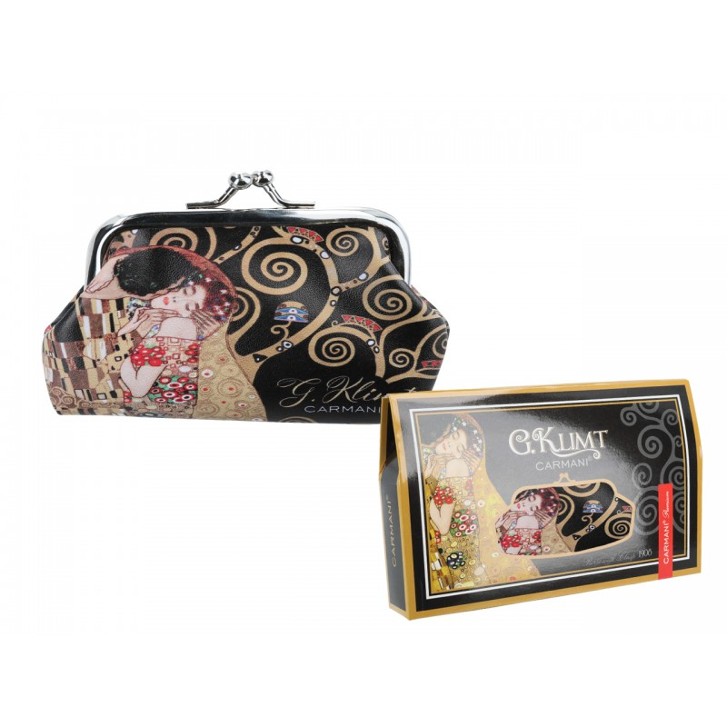 """Large wallet in oleography on eco leather by Gustav Klimt """"The kiss"""""""