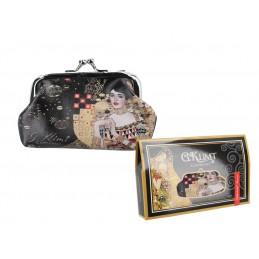 "Portamonete grande in oleografia su eco pelle di Gustav Klimt ""Adele"""