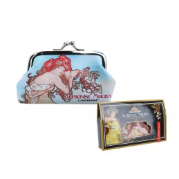 "Large wallet in oleography on eco leather by Alphonse Mucha ""Estate"""