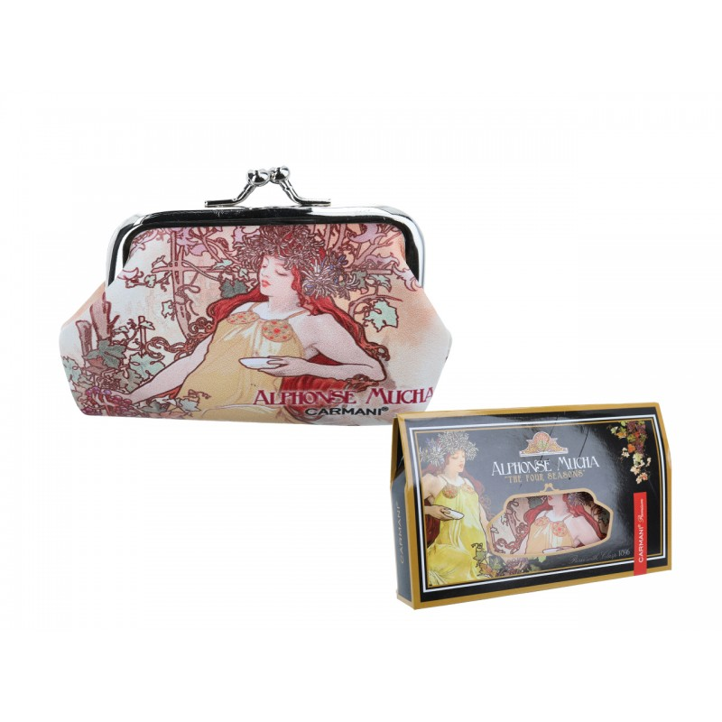 """Large wallet in oleography on eco leather by Alphonce Mucha """"Autumn"""""""