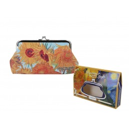 """Portamonete grande in oleografia su eco pelle di Vincent Van Gogh """"Girasoli"""""""