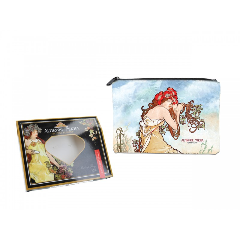 "Pouchette in oleography on eco leather by Alphonce Mucha ""Summer"""