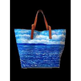 """Borsa da donna dipinta a mano da Annalisa Girlanda """"Serenità marina"""""""