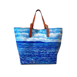 "Woman's bag hand painted by Annalisa Girlanda ""Marine serenity"""