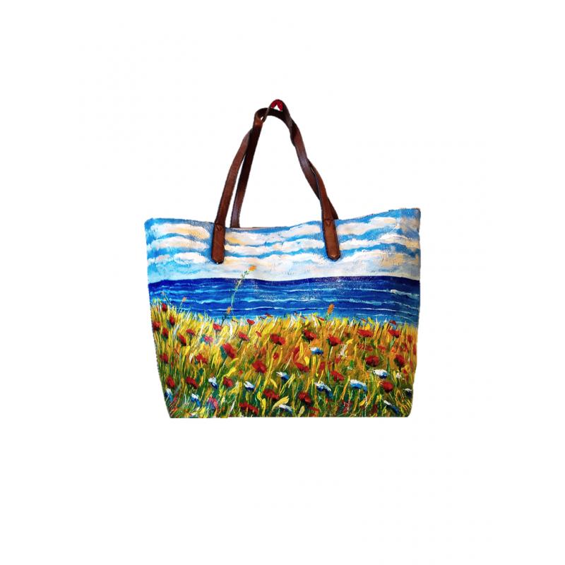 "Woman's bag hand painted by Annalisa Girlanda ""Summer"""