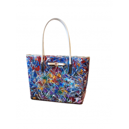 "Woman's bag hand painted by Annalisa Girlanda ""Abstract movement"""