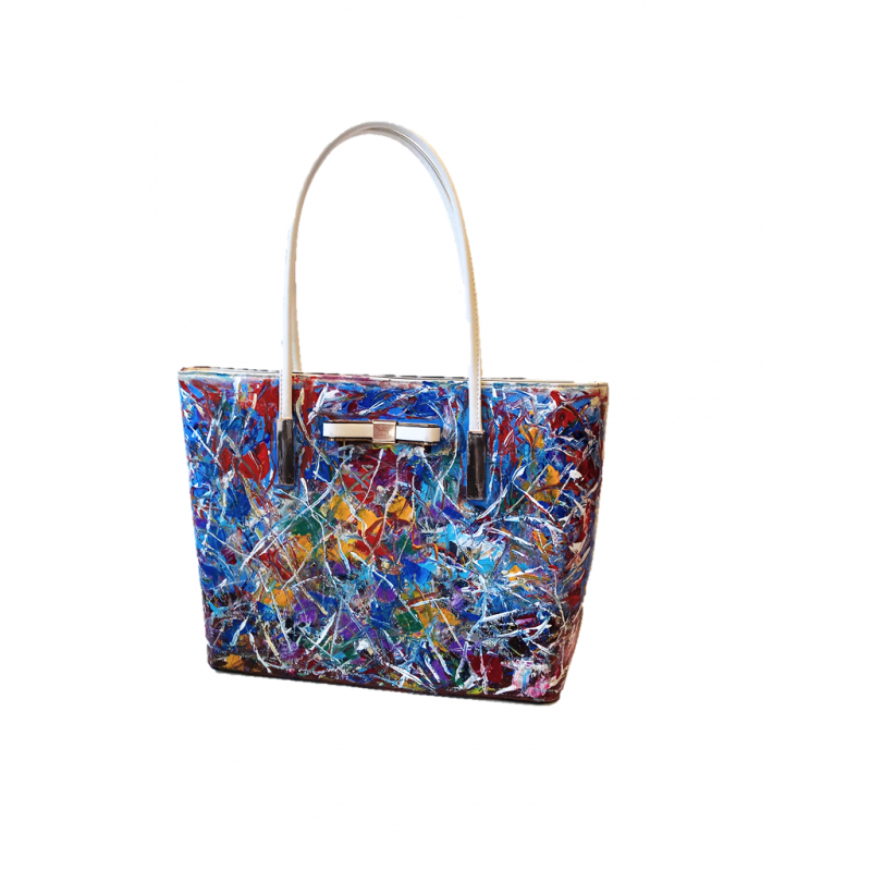 """Woman's bag hand painted by Annalisa Girlanda """"Abstract movement"""""""