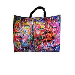 "Woman's bag in jute painted by Annalisa Girlanda ""Female presences"""