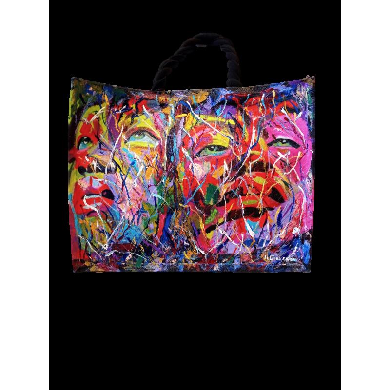 "Woman's bag in jute painted by Annalisa Girlanda ""Female presences"""