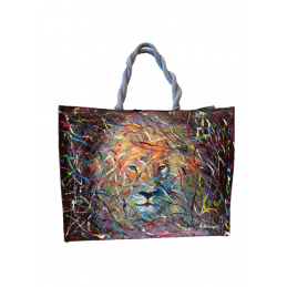"Woman's bag in jute painted by Annalisa Girlanda ""Eyes in the forest"""