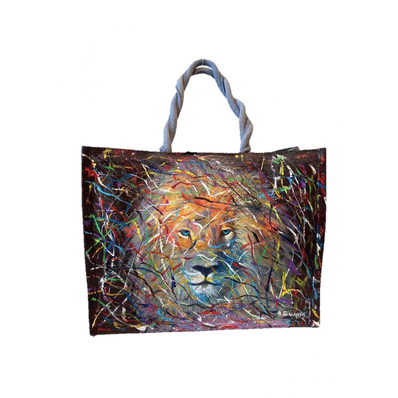 "Woman's bag in jute painted by Annalisa Girlanda ""Eyes in the forest"""