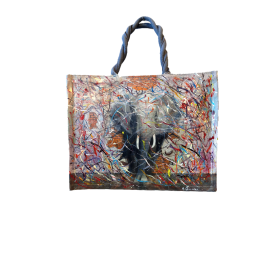 "Woman's bag in jute painted by Annalisa Girlanda ""Devastating entrance"""