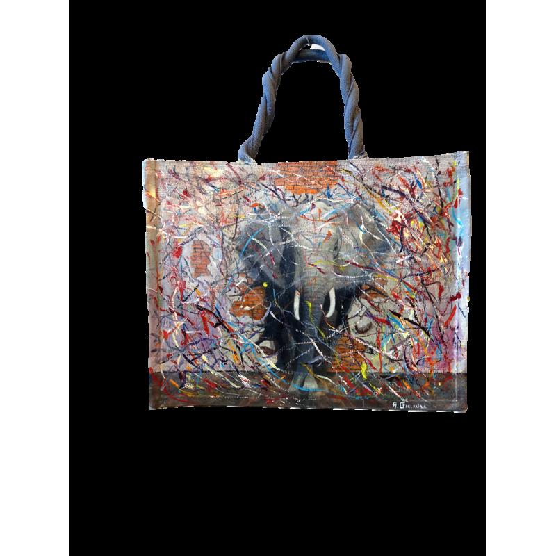 """Woman's bag in jute painted by Annalisa Girlanda """"Devastating entrance"""""""