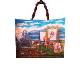 "Woman's bag in jute painted by Beniaminmo Ajroldi ""Self-esteem"""