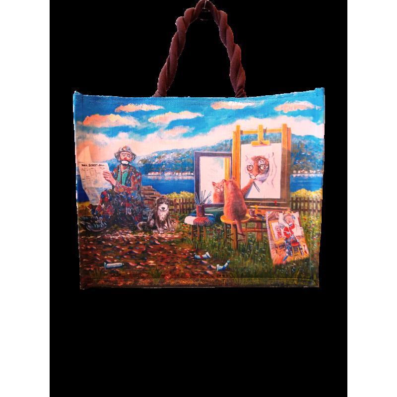 "Woman's bag in jute painted by Beniaminmo Ajroldi ""Self-esteem"""