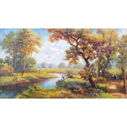 """Dipinto ad olio su tela di Guy De Simoni (1900-1975) """"Autunno nella campagna piemontese 1965"""""""