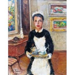 """Dipinto ad olio su tela di Vittorio Gussoni (1893+1968) """"L'ora del tè (Venezia 1953)"""
