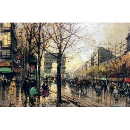 "Oil painting on canvas by Marcantonio Sarego ""Boulevard Parisien 1967)"