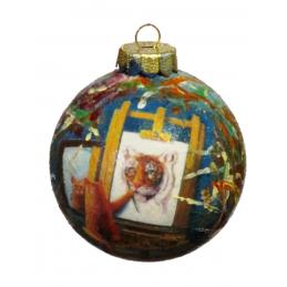"""Decoro natalizio dipinto a mano su vetro di Beniamino Ajroldi """"Autostima"""""""