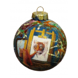 "Hand painted Christmas decoration on glass by Beniamino Ajroldi ""Self-esteem"""