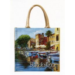 "Jute bag in oleography by Riccardo Bellotto ""Bardolino the Tower of Catullus"""