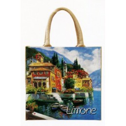 "Jute bag in oleography by Riccardo Bellotto ""Limone sul Lago di Garda"""