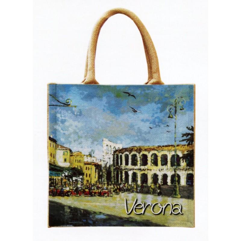 """Borsa di juta in oleografia di Riccardo Bellotto """"Verona l'Arena"""""""