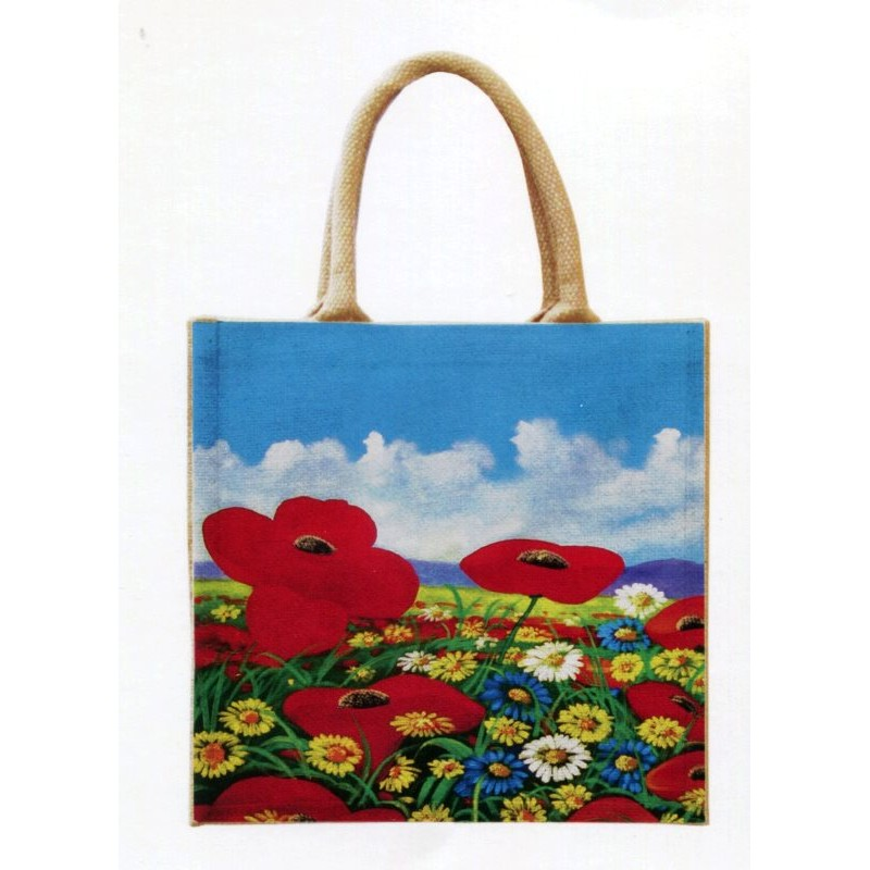 """Jute bag in oleography by Beniamino Ajroldi """"Poppies"""""""