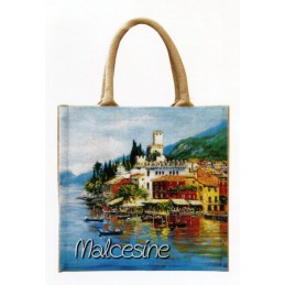 "Jute bag in oleography by Riccardo Bellotto ""Malcesine on Lake Garda"""