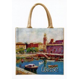 "Jute bag in oleography by Riccardo Bellotto ""Lazise on Lake Garda"""