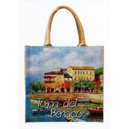 """Borsa di juta in oleografia di Riccardo Bellotto """"Torri del Benaco sul Lago di Garda"""""""