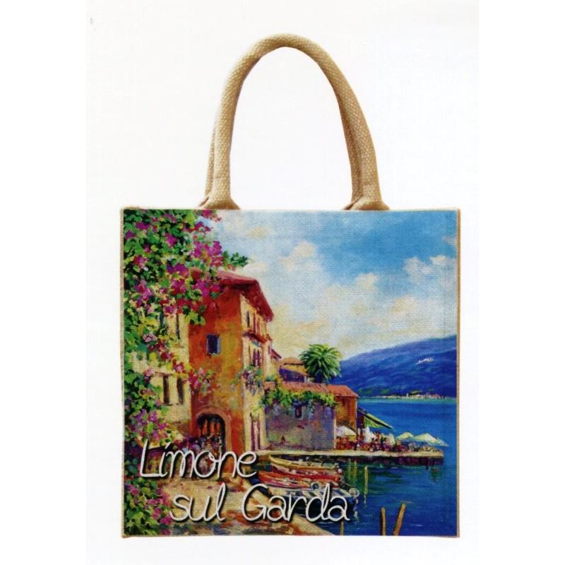 """Borsa di juta in oleografia di Riccardo Bellotto """"Limone sul Lago di Garda"""""""
