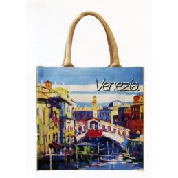 """Jute bag in oleography by Ezzelino Scognamiglio """"Venezia - Ponte di Rialto"""""""
