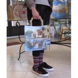 """Jute bag in oleography by Riccardo Bellotto """"Limone sul Lago di Garda"""""""