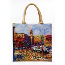 """Jute bag in oleography by Gianni Lucchese """"Verona - Piazza delle Erbe"""""""