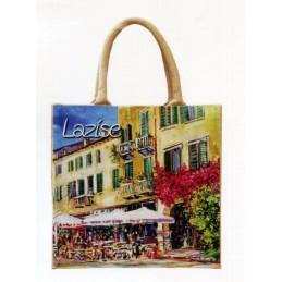 """Borsa di juta in oleografia di Riccardo Bellotto """"Lazise sul Lago di Garda - La Piazza"""""""