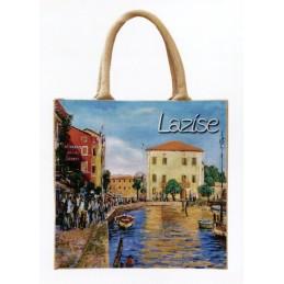 """Borsa di juta in oleografia di Riccardo Bellotto """"Lazise sul Lago di Garda"""""""