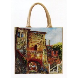 "Jute bag in oleography by Riccardo Bellotto ""Bardolino - Porta Verona - on Lake Garda"""