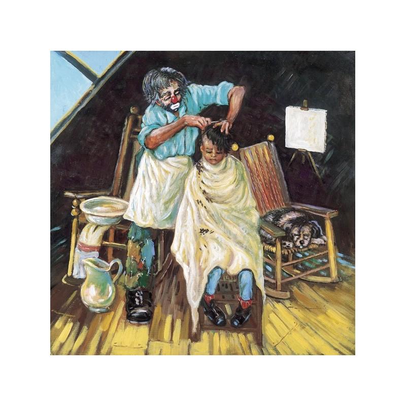 """Dipinto olio su tela  di Beniamino Ajroldi """"Coiffeur alla.....moda"""""""
